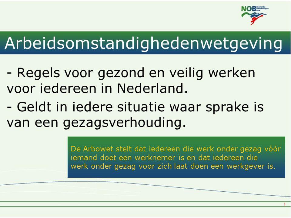 Arbeidsomstandighedenwetgeving - Regels voor gezond en veilig werken voor iedereen in Nederland. - Geldt in iedere situatie waar sprake is van een gez