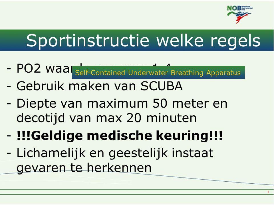 Sportinstructie welke regels -PO2 waarde van max 1.4 -Gebruik maken van SCUBA -Diepte van maximum 50 meter en decotijd van max 20 minuten -!!!Geldige