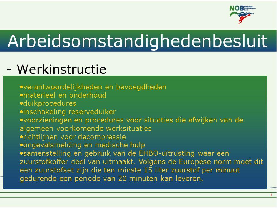 Arbeidsomstandighedenbesluit -Werkinstructie -Deugdelijk materiaal -Voldoende ademgas van goede kwaliteit verantwoordelijkheden en bevoegdheden mate