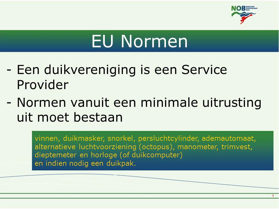 EU Normen -Een duikvereniging is een Service Provider -Normen vanuit een minimale uitrusting uit moet bestaan vinnen, duikmasker, snorkel, persluchtcy
