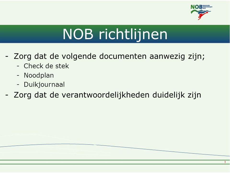 NOB richtlijnen -Zorg dat de volgende documenten aanwezig zijn; -Check de stek -Noodplan -Duikjournaal -Zorg dat de verantwoordelijkheden duidelijk zi