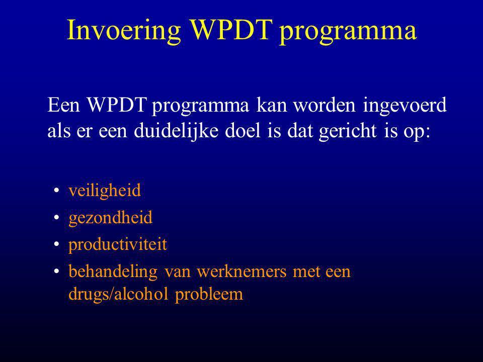 Invoering WPDT programma Een WPDT programma kan worden ingevoerd als er een duidelijke doel is dat gericht is op: •veiligheid •gezondheid •productiviteit •behandeling van werknemers met een drugs/alcohol probleem