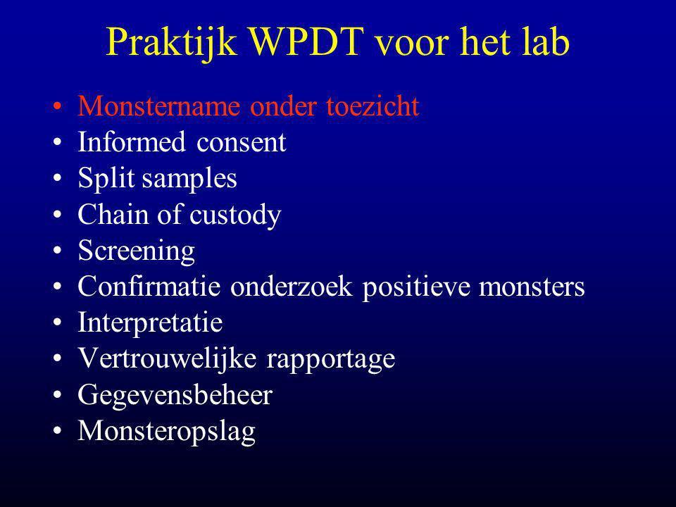 Praktijk WPDT voor het lab •Monstername onder toezicht •Informed consent •Split samples •Chain of custody •Screening •Confirmatie onderzoek positieve monsters •Interpretatie •Vertrouwelijke rapportage •Gegevensbeheer •Monsteropslag