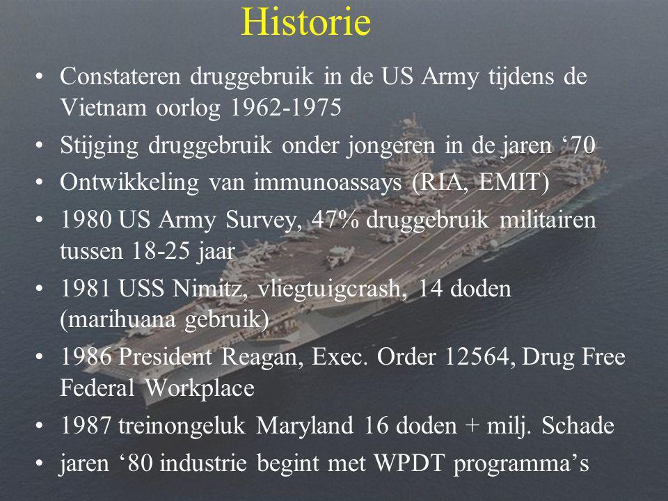 •Constateren druggebruik in de US Army tijdens de Vietnam oorlog 1962-1975 •Stijging druggebruik onder jongeren in de jaren '70 •Ontwikkeling van immunoassays (RIA, EMIT) •1980 US Army Survey, 47% druggebruik militairen tussen 18-25 jaar •1981 USS Nimitz, vliegtuigcrash, 14 doden (marihuana gebruik) •1986 President Reagan, Exec.