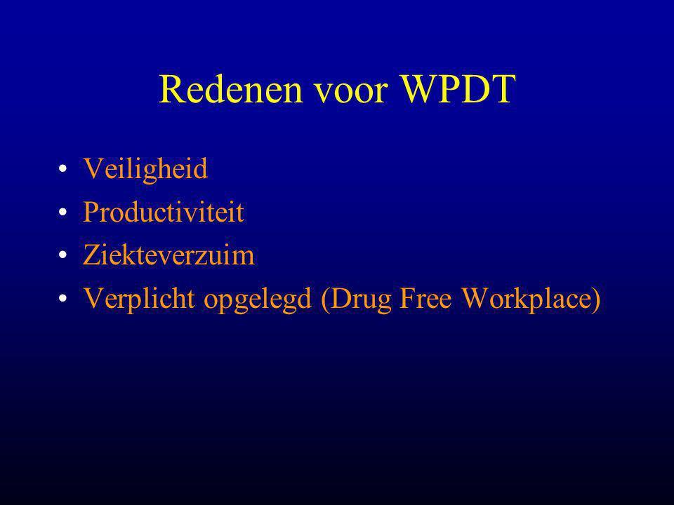 Redenen voor WPDT •Veiligheid •Productiviteit •Ziekteverzuim •Verplicht opgelegd (Drug Free Workplace)