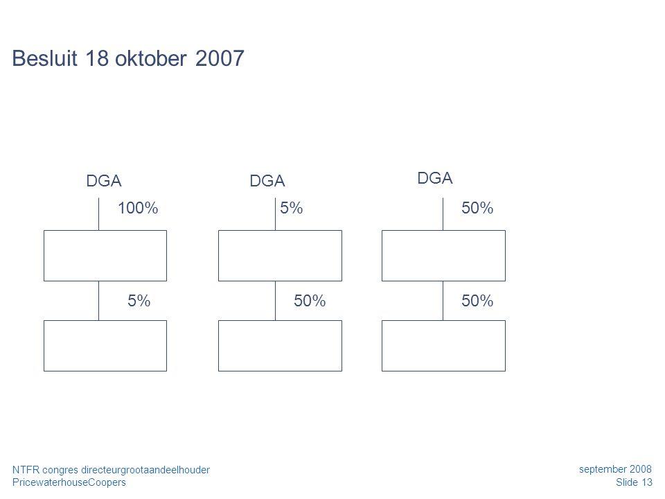 PricewaterhouseCoopers september 2008 Slide 13 NTFR congres directeurgrootaandeelhouder Besluit 18 oktober 2007 100% 5% 50% DGA