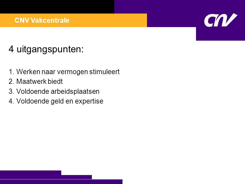 CNV Vakcentrale 4 uitgangspunten: 1.Werken naar vermogen stimuleert 2.Maatwerk biedt 3.Voldoende arbeidsplaatsen 4.Voldoende geld en expertise