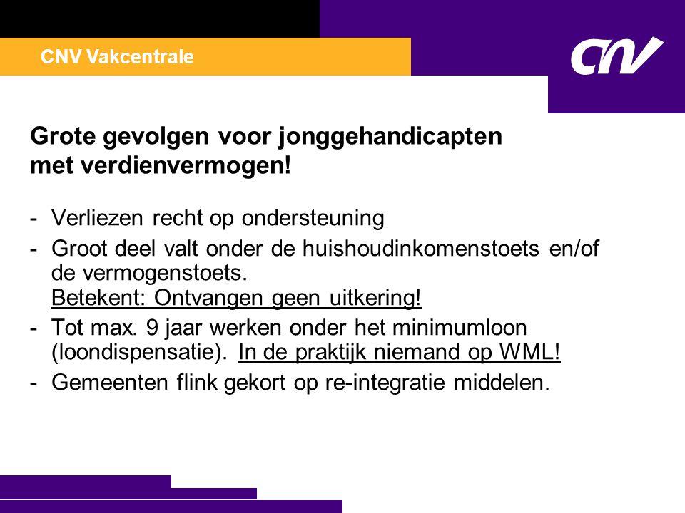 CNV Vakcentrale Grote gevolgen voor jonggehandicapten met verdienvermogen.