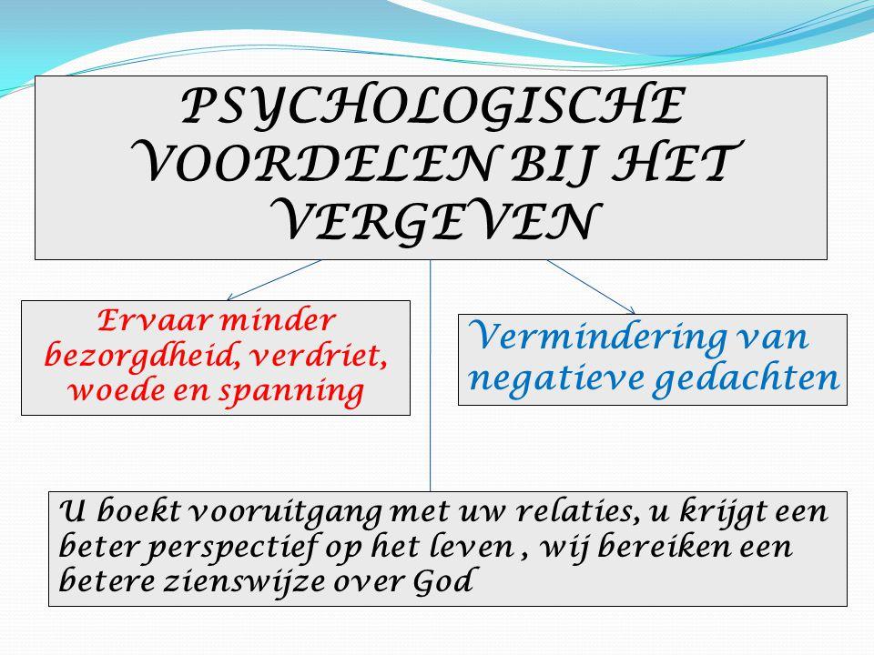 PSYCHOLOGISCHE VOORDELEN BIJ HET VERGEVEN Ervaar minder bezorgdheid, verdriet, woede en spanning Vermindering van negatieve gedachten U boekt vooruitg