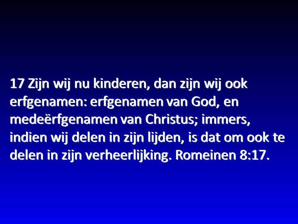 17 Zijn wij nu kinderen, dan zijn wij ook erfgenamen: erfgenamen van God, en medeërfgenamen van Christus; immers, indien wij delen in zijn lijden, is