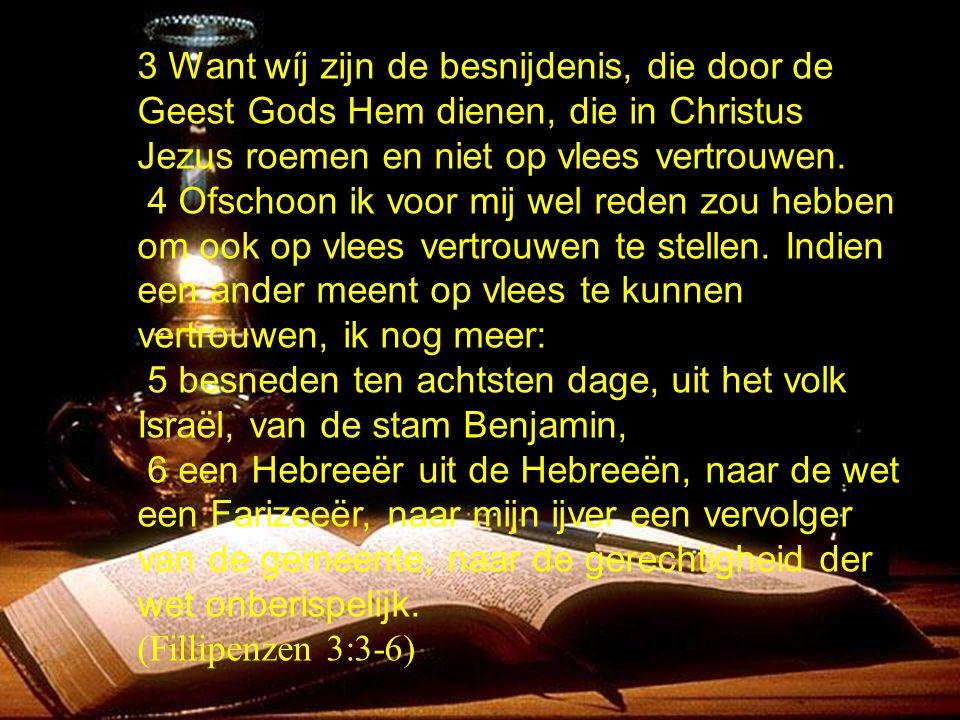 3 Want wíj zijn de besnijdenis, die door de Geest Gods Hem dienen, die in Christus Jezus roemen en niet op vlees vertrouwen. 4 Ofschoon ik voor mij we