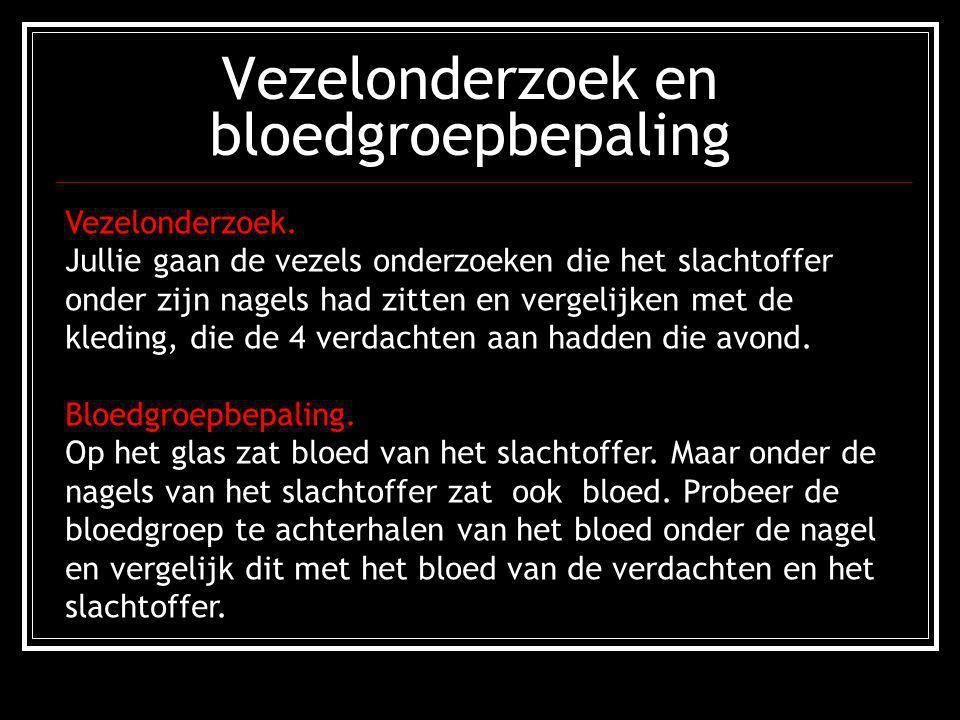 Vezelonderzoek en bloedgroepbepaling Vezelonderzoek. Jullie gaan de vezels onderzoeken die het slachtoffer onder zijn nagels had zitten en vergelijken