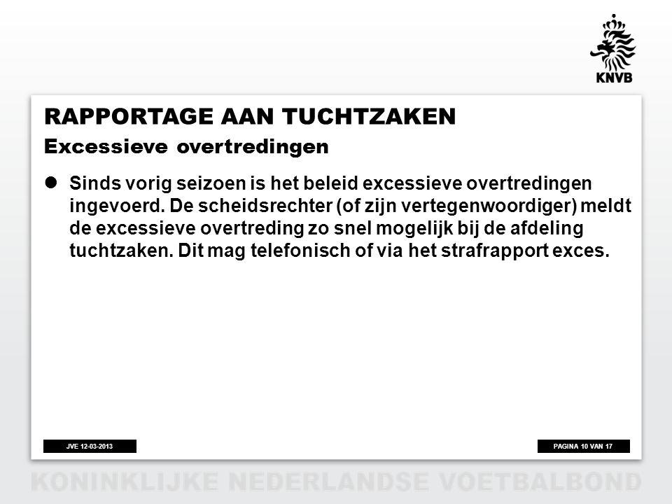 PAGINA 10 VAN 17JVE 12-03-2013 RAPPORTAGE AAN TUCHTZAKEN  Sinds vorig seizoen is het beleid excessieve overtredingen ingevoerd. De scheidsrechter (of