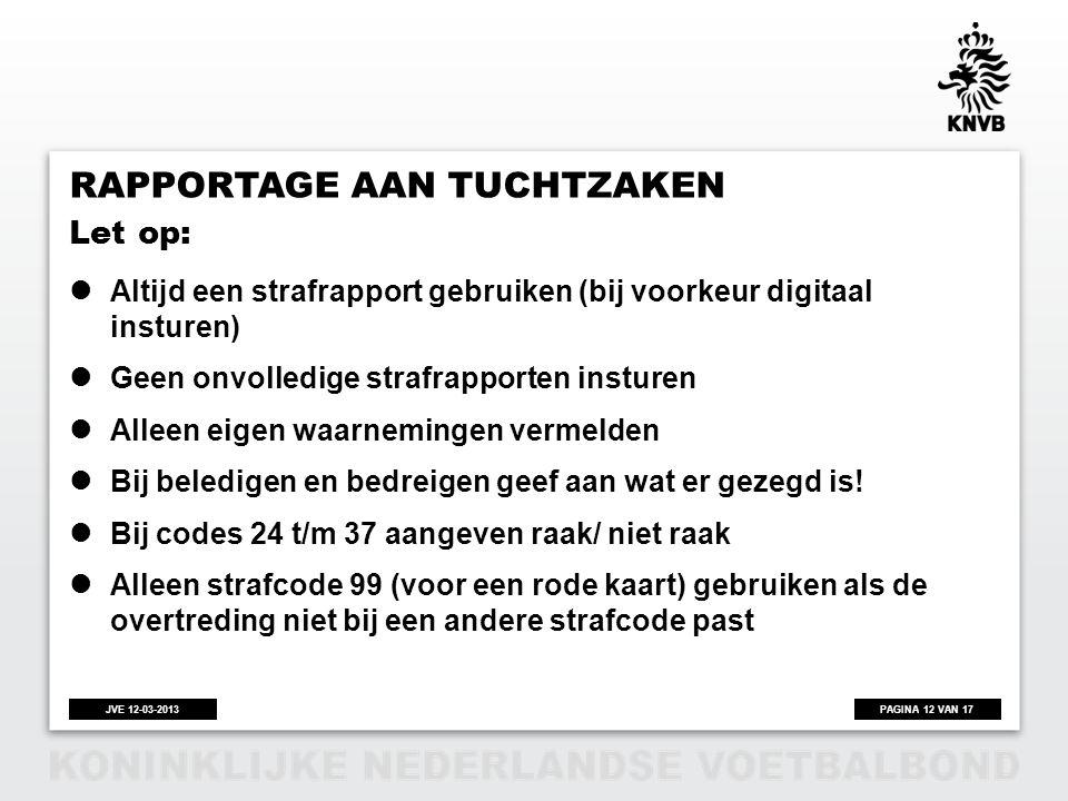 PAGINA 12 VAN 17JVE 12-03-2013 RAPPORTAGE AAN TUCHTZAKEN  Altijd een strafrapport gebruiken (bij voorkeur digitaal insturen)  Geen onvolledige straf