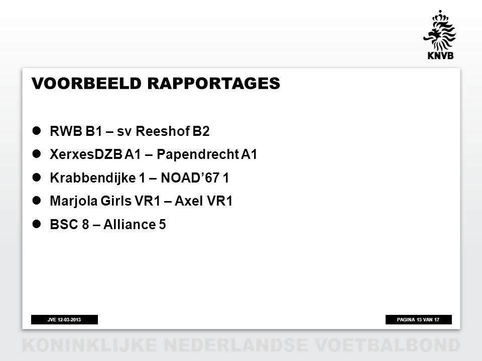 PAGINA 15 VAN 17JVE 12-03-2013 VOORBEELD RAPPORTAGES  RWB B1 – sv Reeshof B2  XerxesDZB A1 – Papendrecht A1  Krabbendijke 1 – NOAD'67 1  Marjola G