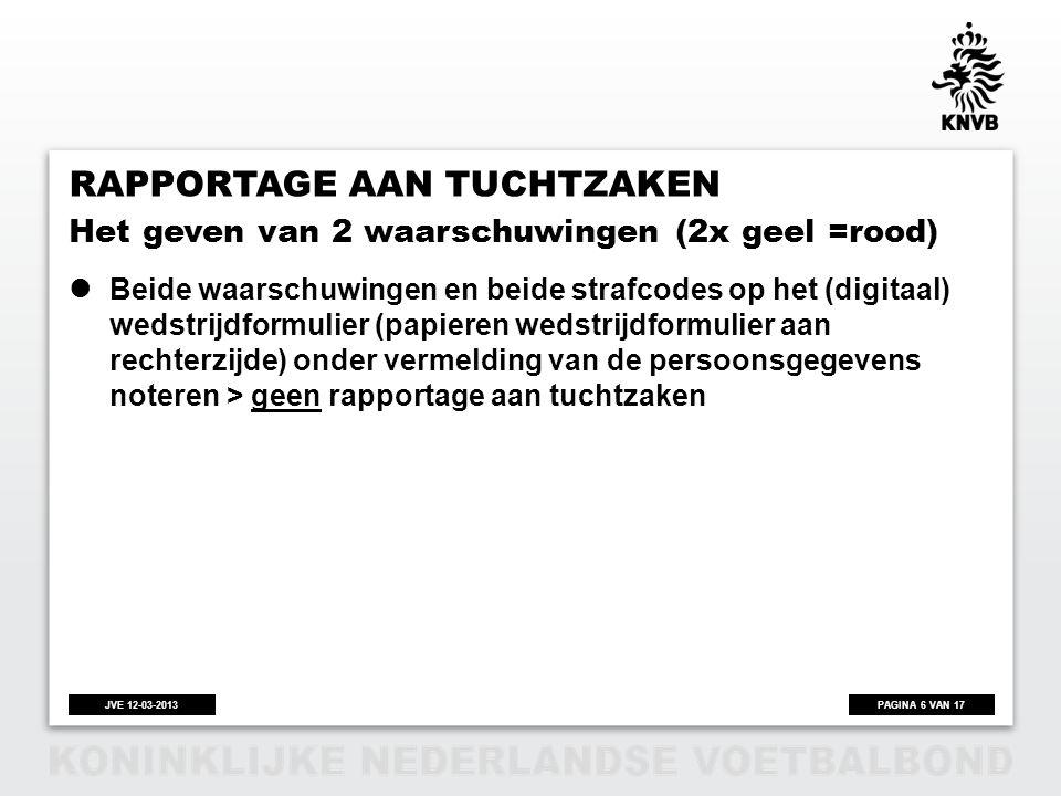 PAGINA 6 VAN 17JVE 12-03-2013 RAPPORTAGE AAN TUCHTZAKEN  Beide waarschuwingen en beide strafcodes op het (digitaal) wedstrijdformulier (papieren weds