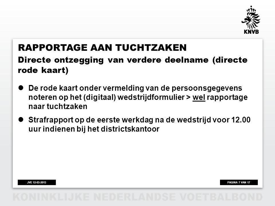 PAGINA 7 VAN 17JVE 12-03-2013 RAPPORTAGE AAN TUCHTZAKEN  De rode kaart onder vermelding van de persoonsgegevens noteren op het (digitaal) wedstrijdfo