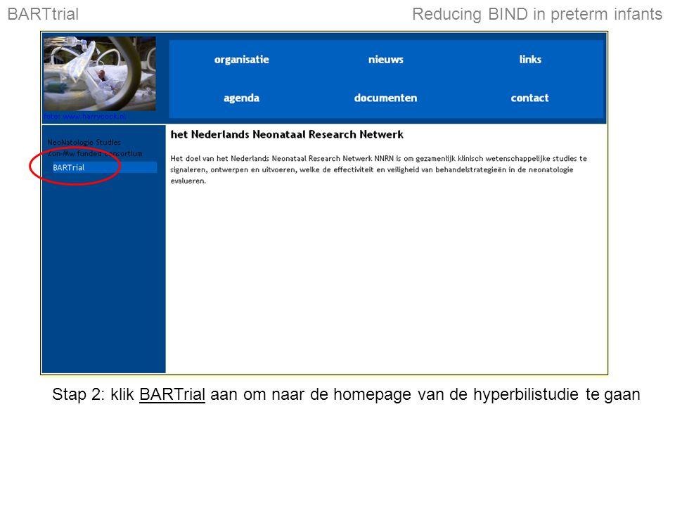 Stap 2: klik BARTrial aan om naar de homepage van de hyperbilistudie te gaan