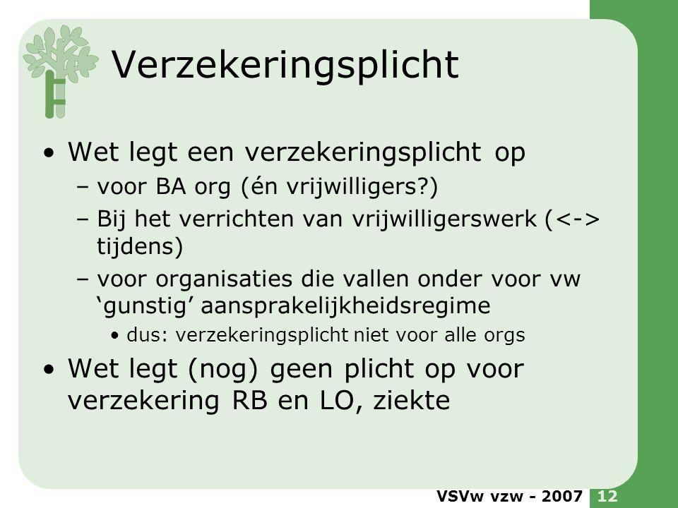 VSVw vzw - 200712 Verzekeringsplicht •Wet legt een verzekeringsplicht op –voor BA org (én vrijwilligers?) –Bij het verrichten van vrijwilligerswerk (