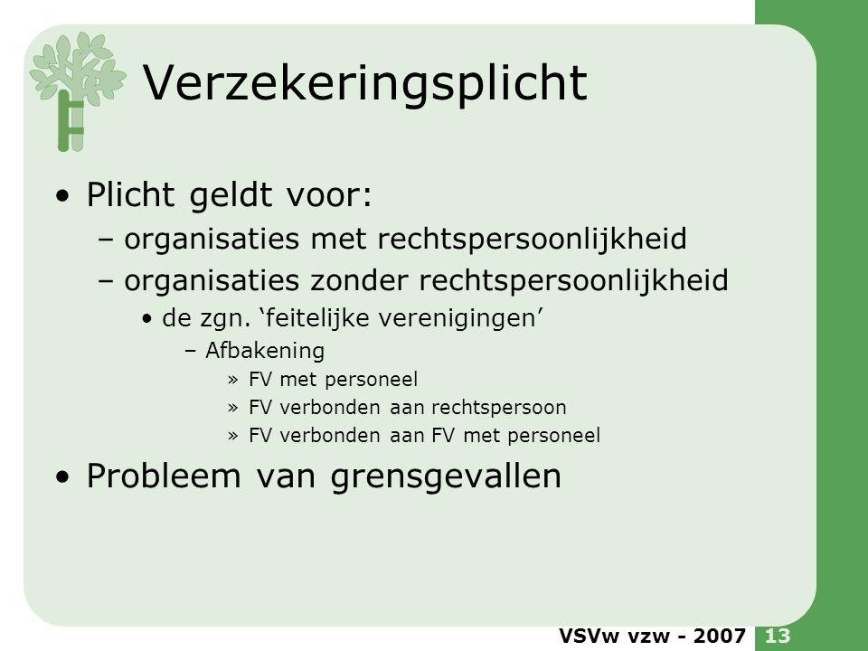 VSVw vzw - 200713 Verzekeringsplicht •Plicht geldt voor: –organisaties met rechtspersoonlijkheid –organisaties zonder rechtspersoonlijkheid •de zgn. '