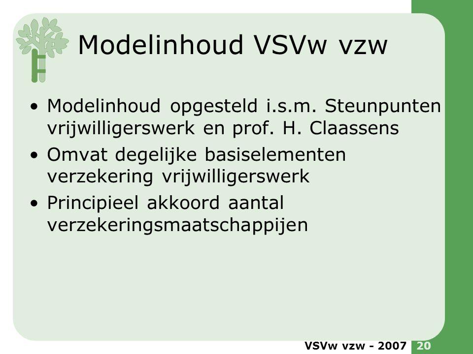 VSVw vzw - 200720 Modelinhoud VSVw vzw •Modelinhoud opgesteld i.s.m. Steunpunten vrijwilligerswerk en prof. H. Claassens •Omvat degelijke basiselement