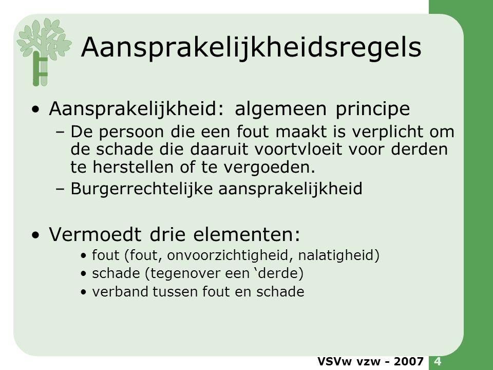 VSVw vzw - 20074 Aansprakelijkheidsregels •Aansprakelijkheid: algemeen principe –De persoon die een fout maakt is verplicht om de schade die daaruit v