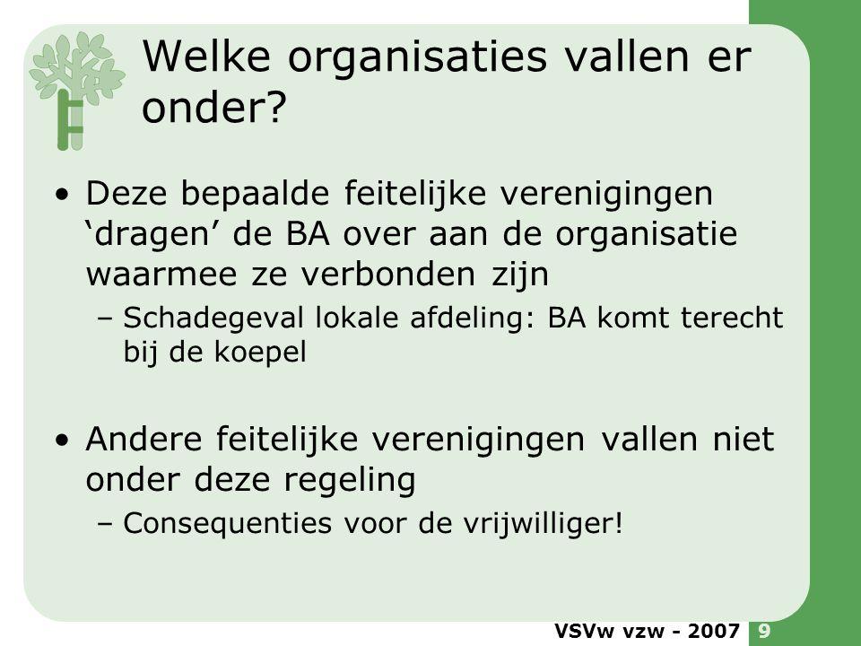 VSVw vzw - 20079 Welke organisaties vallen er onder? •Deze bepaalde feitelijke verenigingen 'dragen' de BA over aan de organisatie waarmee ze verbonde