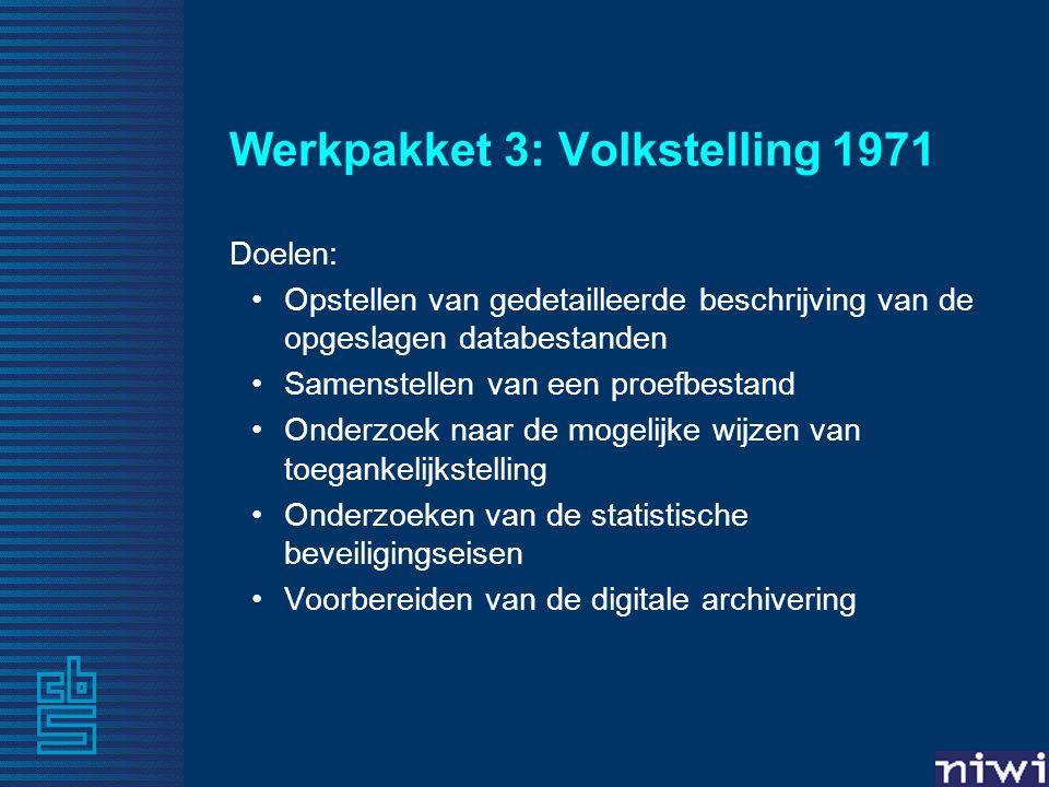 Werkpakket 3: Volkstelling 1971 Doelen: •Opstellen van gedetailleerde beschrijving van de opgeslagen databestanden •Samenstellen van een proefbestand •Onderzoek naar de mogelijke wijzen van toegankelijkstelling •Onderzoeken van de statistische beveiligingseisen •Voorbereiden van de digitale archivering