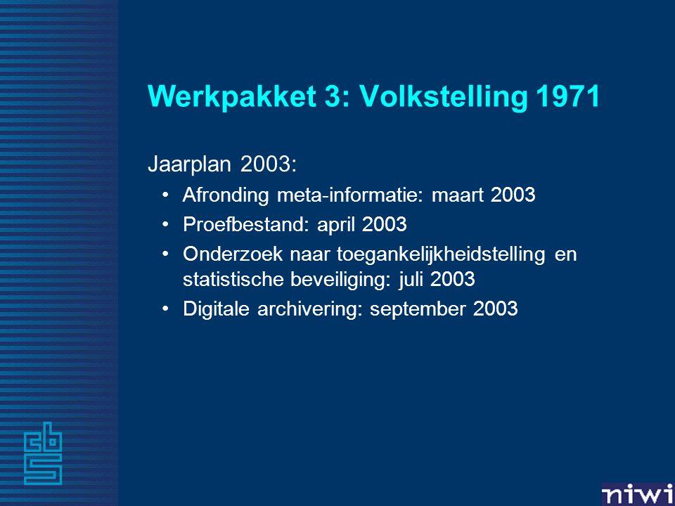 Werkpakket 3: Volkstelling 1971 Jaarplan 2003: •Afronding meta-informatie: maart 2003 •Proefbestand: april 2003 •Onderzoek naar toegankelijkheidstelling en statistische beveiliging: juli 2003 •Digitale archivering: september 2003