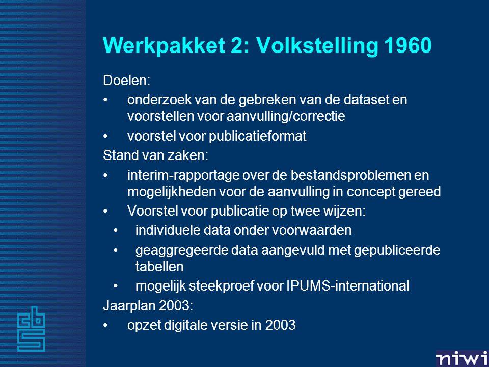 Werkpakket 2: Volkstelling 1960 Doelen: •onderzoek van de gebreken van de dataset en voorstellen voor aanvulling/correctie •voorstel voor publicatieformat Stand van zaken: •interim-rapportage over de bestandsproblemen en mogelijkheden voor de aanvulling in concept gereed •Voorstel voor publicatie op twee wijzen: •individuele data onder voorwaarden •geaggregeerde data aangevuld met gepubliceerde tabellen •mogelijk steekproef voor IPUMS-international Jaarplan 2003: •opzet digitale versie in 2003