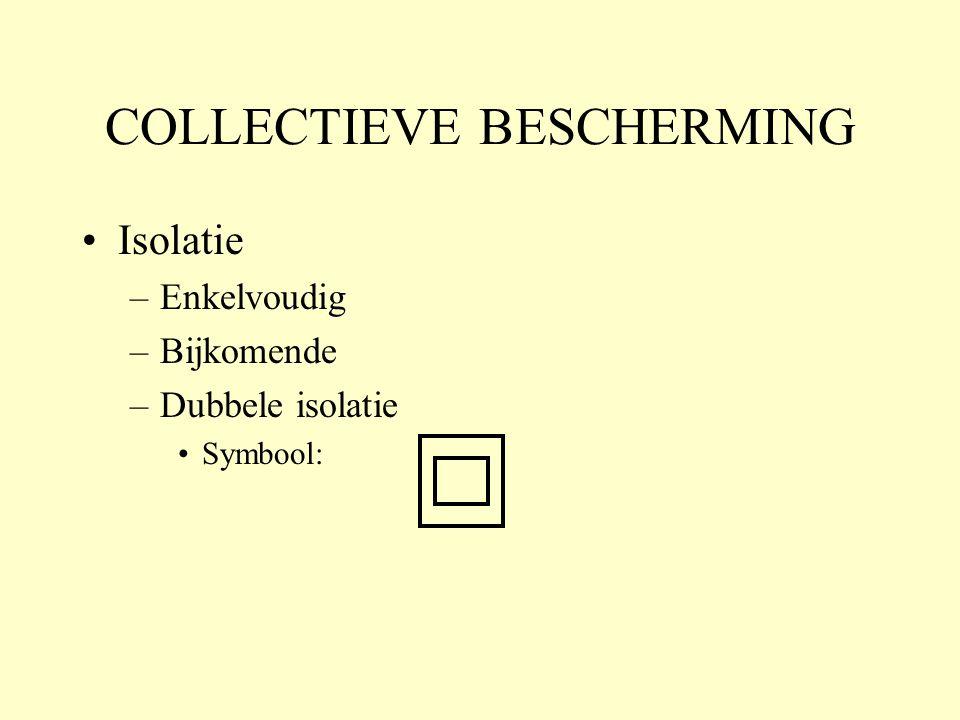 COLLECTIEVE BESCHERMING •Isolatie –Enkelvoudig –Bijkomende –Dubbele isolatie •Symbool: