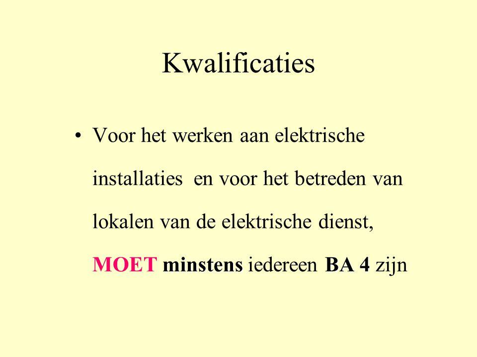 Kwalificaties minstensBA 4 •Voor het werken aan elektrische installaties en voor het betreden van lokalen van de elektrische dienst, MOET minstens iedereen BA 4 zijn