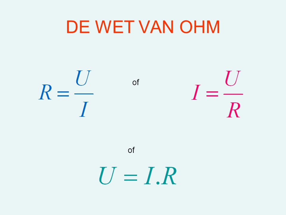 DE WET VAN OHM of