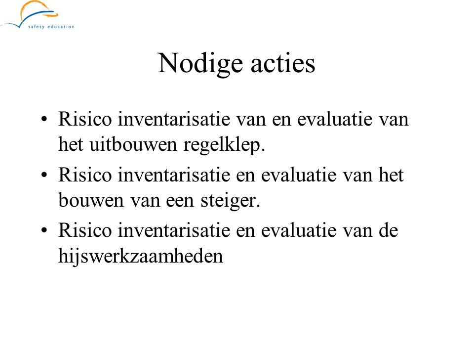 Nodige acties •Risico inventarisatie van en evaluatie van het uitbouwen regelklep. •Risico inventarisatie en evaluatie van het bouwen van een steiger.