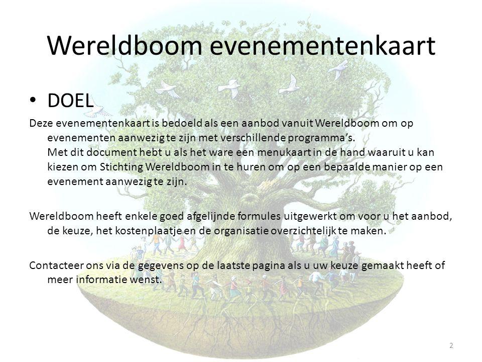 Wereldboom evenementenkaart • DOEL Deze evenementenkaart is bedoeld als een aanbod vanuit Wereldboom om op evenementen aanwezig te zijn met verschille