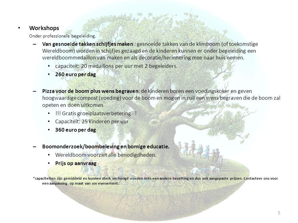 • Workshops Onder professionele begeleiding. – Van gesnoeide takken schijfjes maken : gesnoeide takken van de klimboom (of toekomstige Wereldboom) wor
