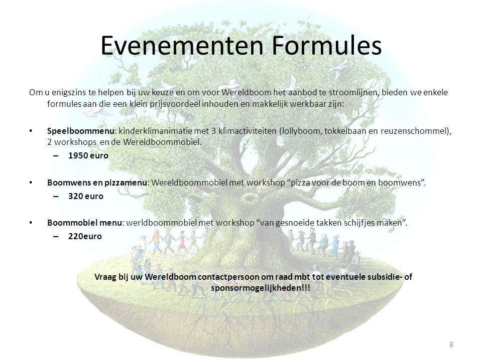 Evenementen Formules Om u enigszins te helpen bij uw keuze en om voor Wereldboom het aanbod te stroomlijnen, bieden we enkele formules aan die een kle