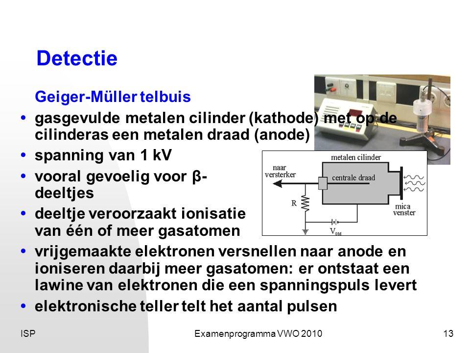 ISPExamenprogramma VWO 201013 Detectie Geiger-Müller telbuis • gasgevulde metalen cilinder (kathode) met op de cilinderas een metalen draad (anode) • spanning van 1 kV • vooral gevoelig voor β- deeltjes • deeltje veroorzaakt ionisatie van één of meer gasatomen • vrijgemaakte elektronen versnellen naar anode en ioniseren daarbij meer gasatomen: er ontstaat een lawine van elektronen die een spanningspuls levert • elektronische teller telt het aantal pulsen