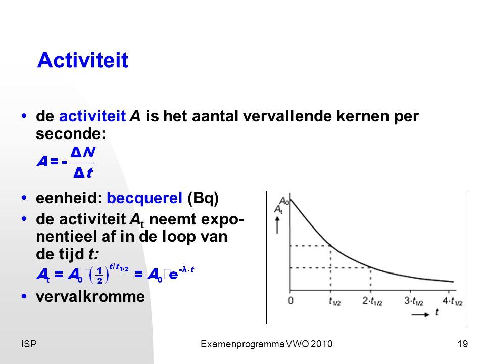 ISPExamenprogramma VWO 201019 Activiteit • de activiteit A is het aantal vervallende kernen per seconde: •eenheid: becquerel (Bq) •de activiteit A t neemt expo- nentieel af in de loop van de tijd t: • vervalkromme