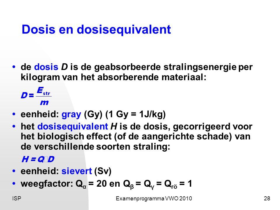 ISPExamenprogramma VWO 201028 Dosis en dosisequivalent • de dosis D is de geabsorbeerde stralingsenergie per kilogram van het absorberende materiaal: •eenheid: gray (Gy) (1 Gy = 1J/kg) • het dosisequivalent H is de dosis, gecorrigeerd voor het biologisch effect (of de aangerichte schade) van de verschillende soorten straling: • eenheid: sievert (Sv) • weegfactor: Q α = 20 en Q β = Q γ = Q rö = 1