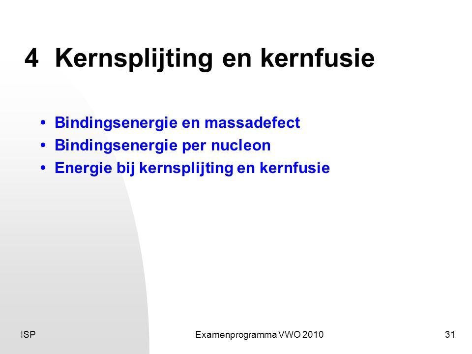 ISPExamenprogramma VWO 201031 4Kernsplijting en kernfusie • Bindingsenergie en massadefect • Bindingsenergie per nucleon • Energie bij kernsplijting en kernfusie