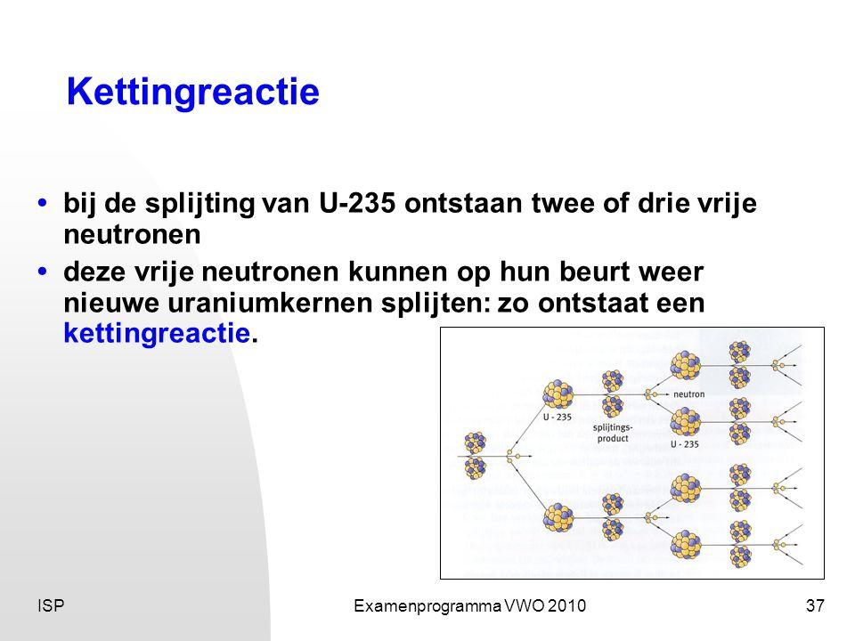 ISPExamenprogramma VWO 201037 Kettingreactie • bij de splijting van U-235 ontstaan twee of drie vrije neutronen • deze vrije neutronen kunnen op hun b