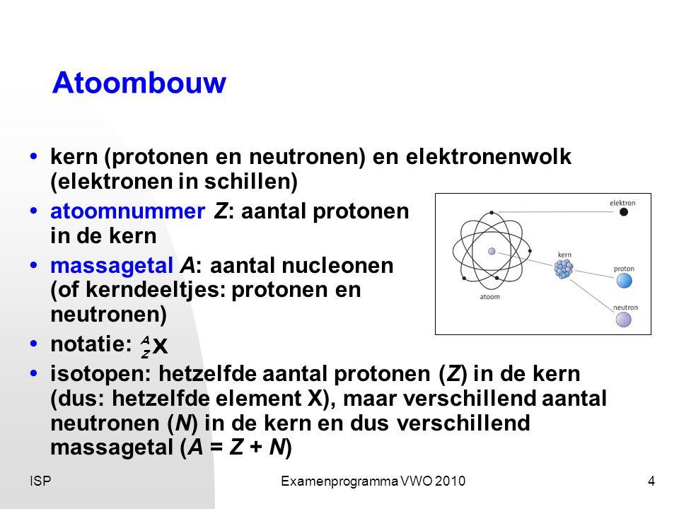 ISPExamenprogramma VWO 20104 Atoombouw •kern (protonen en neutronen) en elektronenwolk (elektronen in schillen) •atoomnummer Z: aantal protonen in de