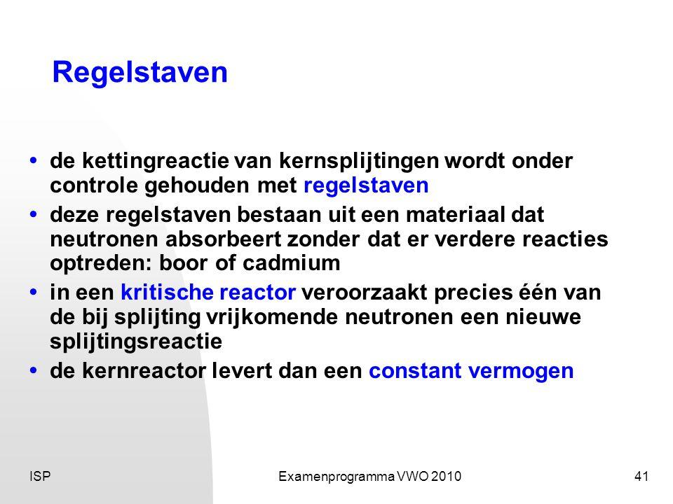 ISPExamenprogramma VWO 201041 Regelstaven • de kettingreactie van kernsplijtingen wordt onder controle gehouden met regelstaven • deze regelstaven bes