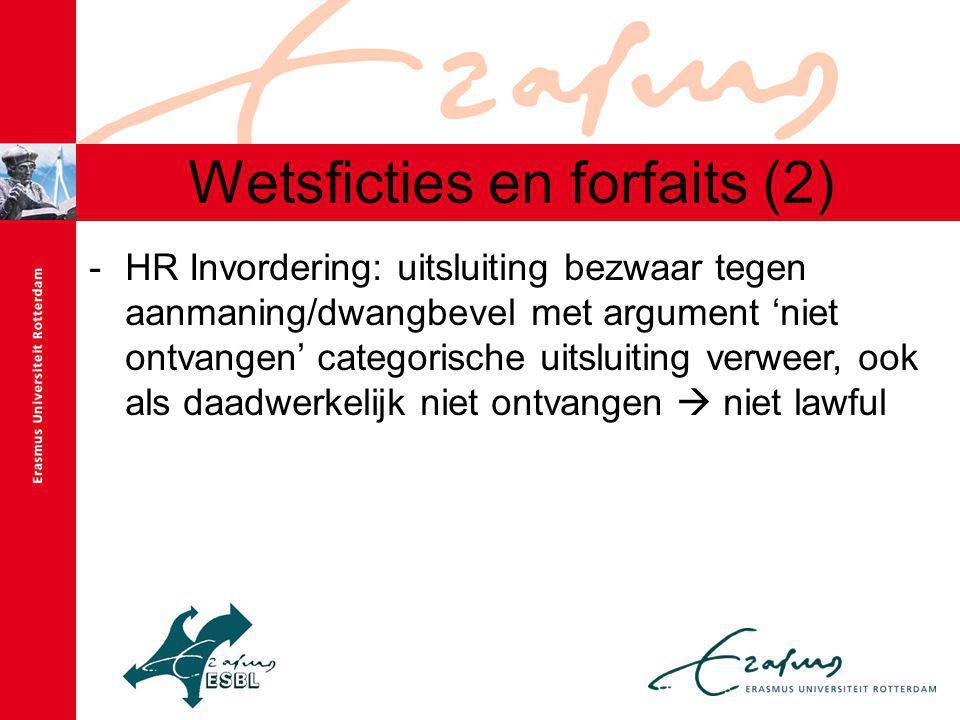 Wetsficties en forfaits (2) -HR Invordering: uitsluiting bezwaar tegen aanmaning/dwangbevel met argument 'niet ontvangen' categorische uitsluiting verweer, ook als daadwerkelijk niet ontvangen  niet lawful