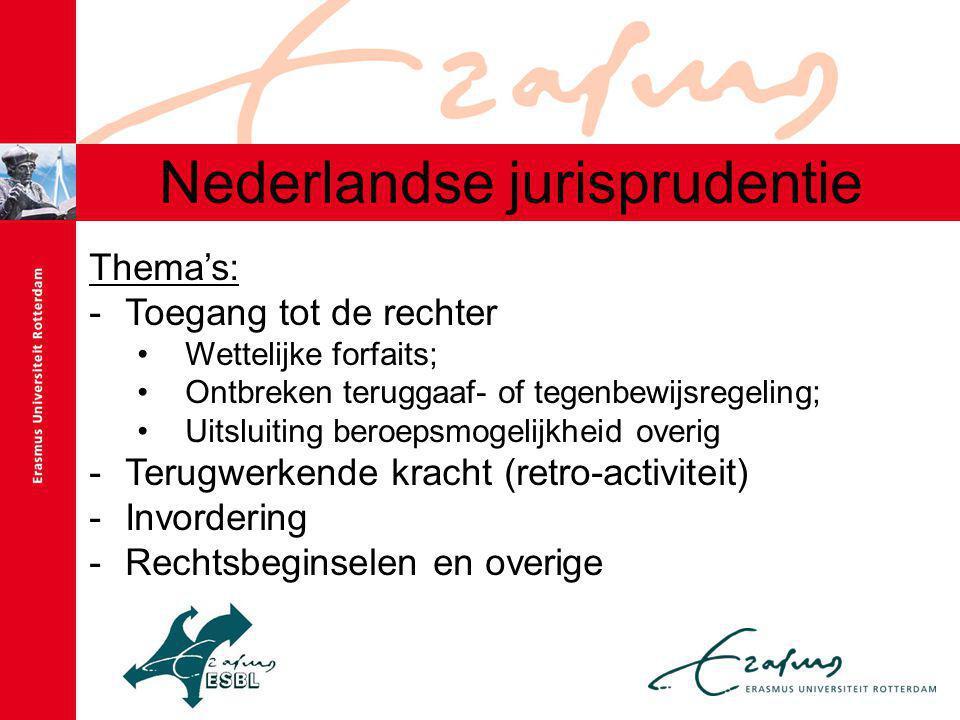 Nederlandse jurisprudentie Thema's: -Toegang tot de rechter •Wettelijke forfaits; •Ontbreken teruggaaf- of tegenbewijsregeling; •Uitsluiting beroepsmogelijkheid overig -Terugwerkende kracht (retro-activiteit) -Invordering -Rechtsbeginselen en overige