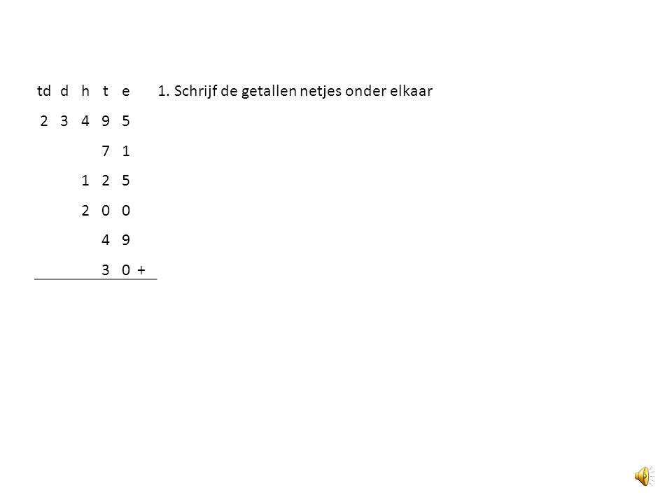 1. Schrijf de getallen netjes onder elkaar
