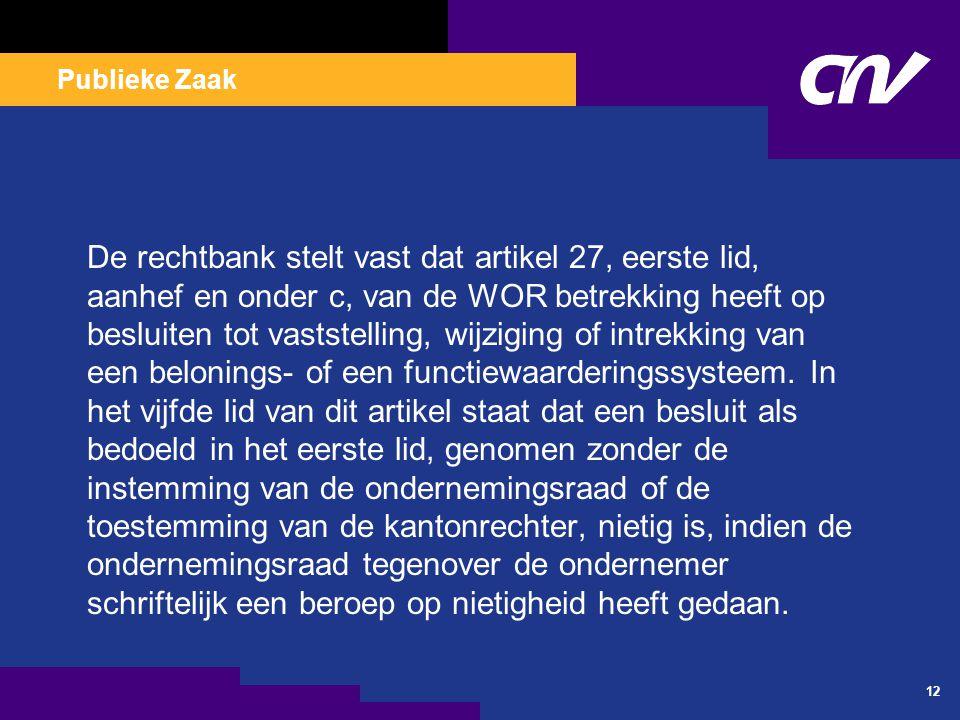 Publieke Zaak 12 De rechtbank stelt vast dat artikel 27, eerste lid, aanhef en onder c, van de WOR betrekking heeft op besluiten tot vaststelling, wij