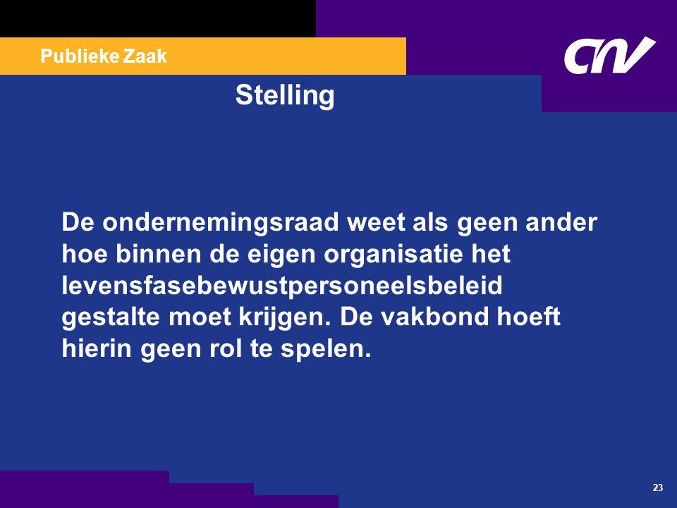 Publieke Zaak 23 Stelling De ondernemingsraad weet als geen ander hoe binnen de eigen organisatie het levensfasebewustpersoneelsbeleid gestalte moet k