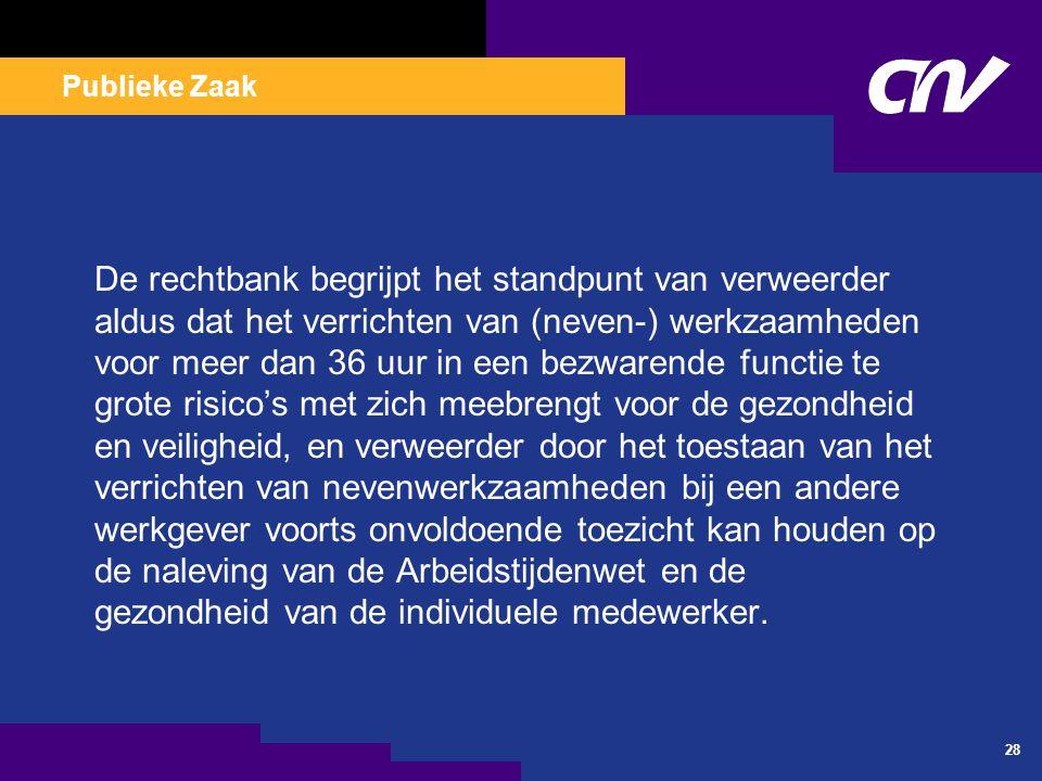 Publieke Zaak 28 De rechtbank begrijpt het standpunt van verweerder aldus dat het verrichten van (neven-) werkzaamheden voor meer dan 36 uur in een be